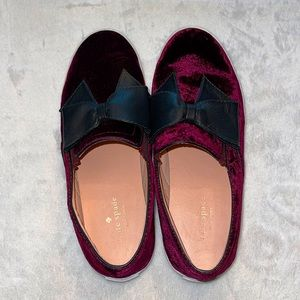 Kate Spade Velvet Slip On Casual Shoes With Bows